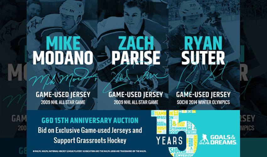 NHLPA GOALS & DREAMS AUCTIONS 15 GAME-WORN JERSEYS