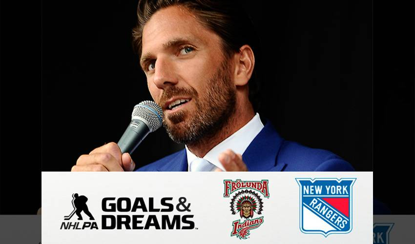 NEW YORK RANGERS' HENRIK LUNDQVIST AND NHLPA SURPRISE YOUTH HOCKEY ORGANIZATION IN SWEDEN WITH DONATION