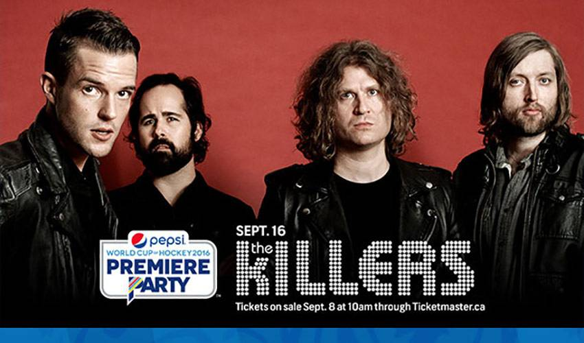 GRAMMY-NOMINATED ROCK BAND THE KILLERS TO HEADLINE PEPSI WORLD CUP OF HOCKEY PREMIERE PARTY