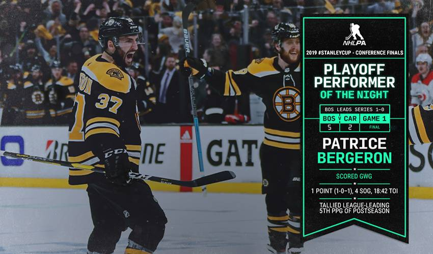 Bruins' score 4 goals in 3rd, beat Hurricanes 5-2 in Game 1