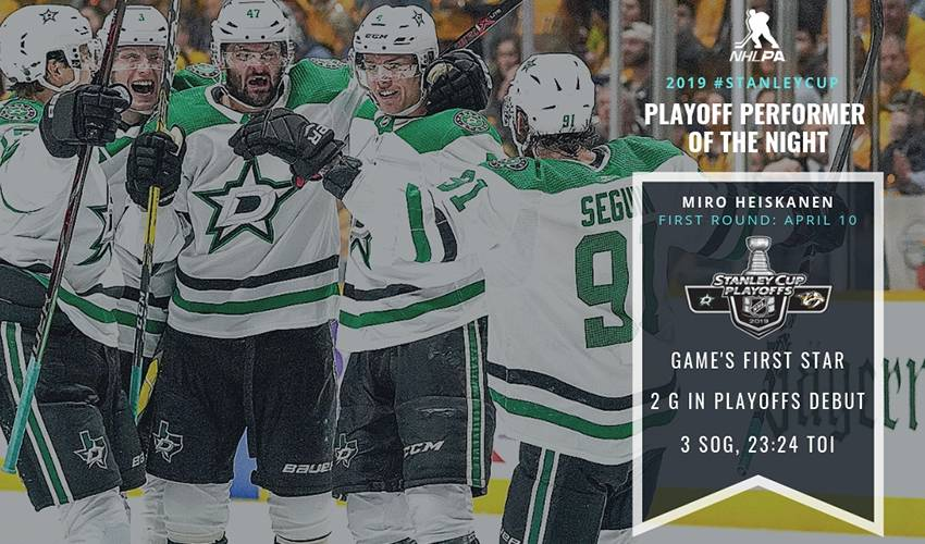 Rookie scores in debut, Stars beat Preds for 1-0 series lead