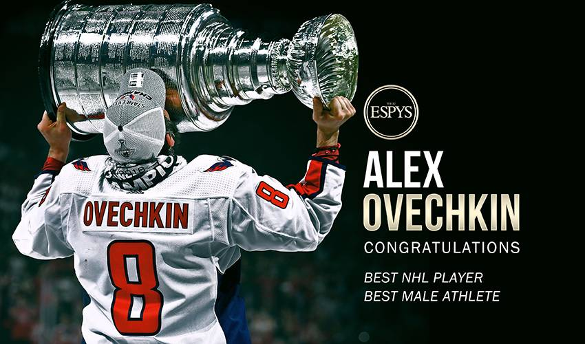Ovechkin wins ESPY for Best Male Athlete as first NHL player