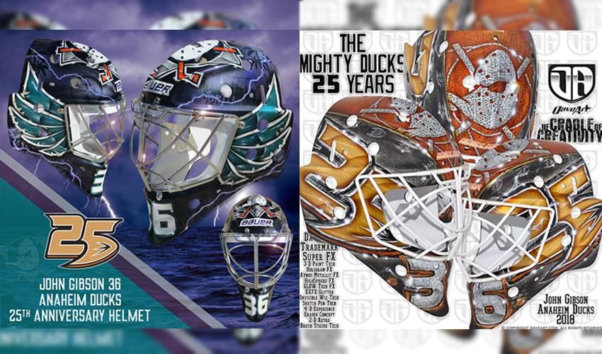 Gibson's retro masks homage to hometown, Ducks anniversary