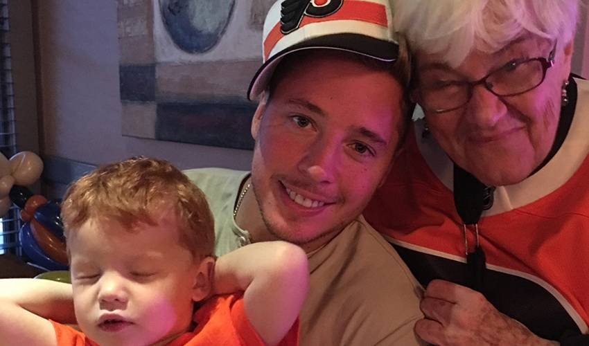 Cam Atkinson playing second fiddle to Grandma Marge in Philly