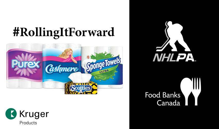 Kruger Products expands #RollingItForward with NHLPA and Donation to Food Banks Canada