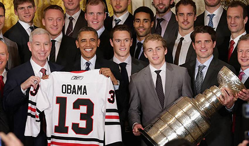Chicago Blackhawk Players Honored By President Barack Obama At The White House